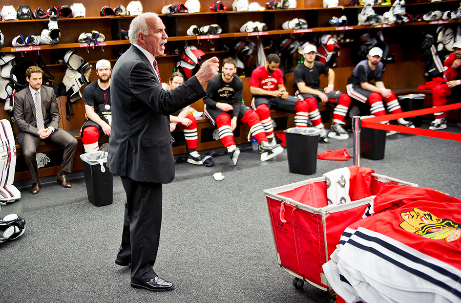 joel quenneville giving a rousing post-game speech