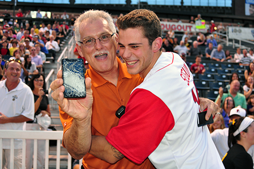 Tyler Seguin with Lowell Spinners VP Dan Beaulieu