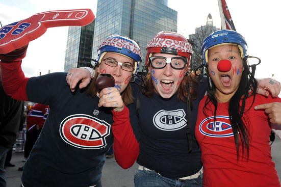 MONTREAL - APRIL 19: Montreal Canadiens fans at the entrance of the Bell Centre in the Game Three of the Eastern Conference Quarterfinals during the 2010 NHL Stanley Cup Playoffs at the Bell Centre on April 19, 2010 in Montreal, Quebec, Canada. (Photo by Francois Lacasse/NHLI via Getty Images)