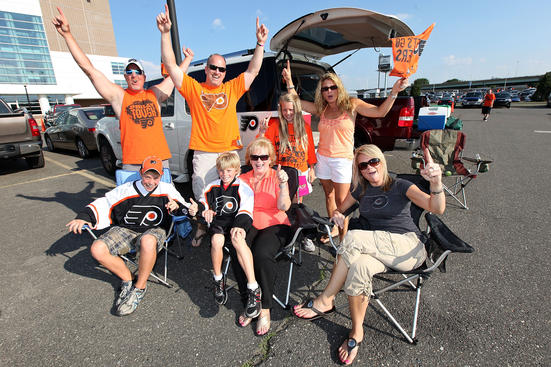 PHILADELPHIA - JUNE 02: Fans of the Philadelphia Flyers pose before Game Three of the 2010 NHL Stanley Cup Final against the Chicago Blackhawks at Wachovia Center on June 2, 2010 in Philadelphia, Pennsylvania. (Photo by Andre Ringuette/Getty Images)