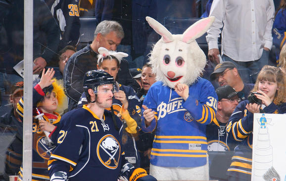 BUFFALO, NY - APRIL 24: Drew Stafford #21 of the Buffalo Sabres draws the attention of the Easter Bunny and other Sabres fans while warming up to play the Philadelphia Flyers in Game Six of the Eastern Conference Quarterfinals during the 2011 NHL Stanley Cup Playoffs at HSBC Arena on April 24, 2011 in Buffalo, New York. (Photo by Bill Wippert/NHLI via Getty Images)