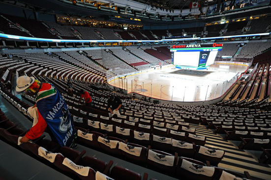VANCOUVER, BC - JUNE 04: Workers setup the arena prior to Game Two between the Boston Bruins and the Vancouver Canucks in the 2011 NHL Stanley Cup Final at Rogers Arena on June 4, 2011 in Vancouver, British Columbia, Canada. (Photo by Michael Heiman/Getty Images)