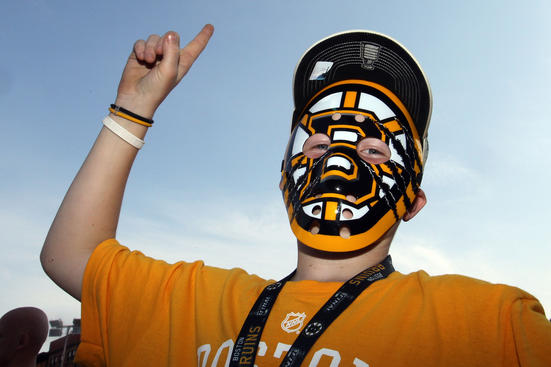 BOSTON, MA - JUNE 08: A fan of the Boston Bruins poses for a photo prior to Game Four of the 2011 NHL Stanley Cup Final between the Vancouver Canucks and the Boston Bruins at TD Garden on June 8, 2011 in Boston, Massachusetts. (Photo by Jim Rogash/Getty Images)