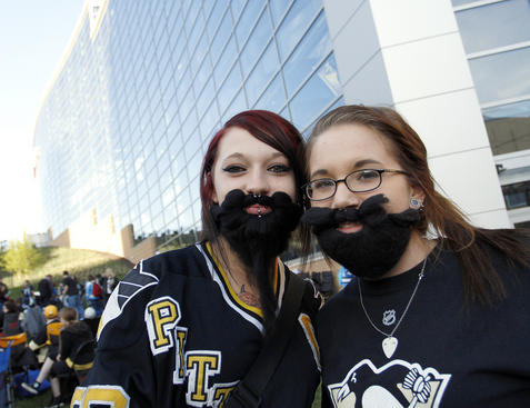 PITTSBURGH, PA - APRIL 13:  Penguin fans stand in front of Consol Energy Center before Game Two of the Eastern Conference Quarterfinals during the 2012 NHL Stanley Cup Playoffs at Consol Energy Center on April 13, 2012 in Pittsburgh, Pennsylvania.  (Photo by Justin K. Aller/Getty Images)