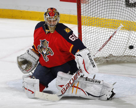 SUNRISE, FL - APRIL 21: Goaltender Jose Theodore #60 of the Florida Panthers warms up prior to the game against the New Jersey Devils in Game Five of the Eastern Conference Quarterfinals during the 2012 NHL Stanley Cup Playoffs at the BankAtlantic Center on April 21, 2012  in Sunrise, Florida. (Photo by Joel Auerbach/Getty Images)