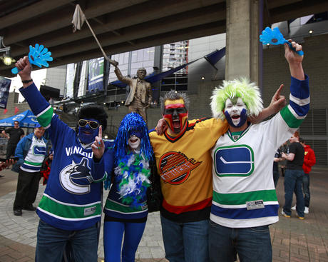 VANCOUVER, CANADA - APRIL 22:  Vancouver Canucks fans cheer before Game Five of the Western Conference Quarterfinals between the Los Angeles Kings and the Vancouver Canucks during the 2012 NHL Stanley Cup Finals at Rogers Arena on April 22, 2012 in Vancouver, British Columbia, Canada.  (Photo by Jeff Vinnick/NHLI via Getty Images)