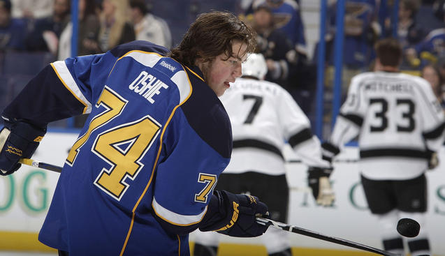 ST. LOUIS, MO - APRIL 28: T.J. Oshie #74 of the St. Louis Blues warms up before Game One of the Western Conference Semifinals against the Los Angeles Kings during the 2012 NHL Stanley Cup Playoffs at Scottrade Center on April 28, 2012 in St. Louis, Missouri. (Photo by Mark Buckner/NHLI via Getty Images)