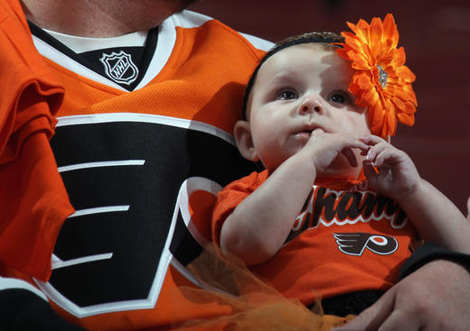 PHILADELPHIA, PA - MAY 08: A young fan attends the game between the Philadelphia Flyers and the New Jersey Devils in Game Five of the Eastern Conference Semifinals during the 2012 NHL Stanley Cup Playoffsnat Wells Fargo Center on May 8, 2012 in Philadelphia, Pennsylvania.  (Photo by Bruce Bennett/Getty Images)