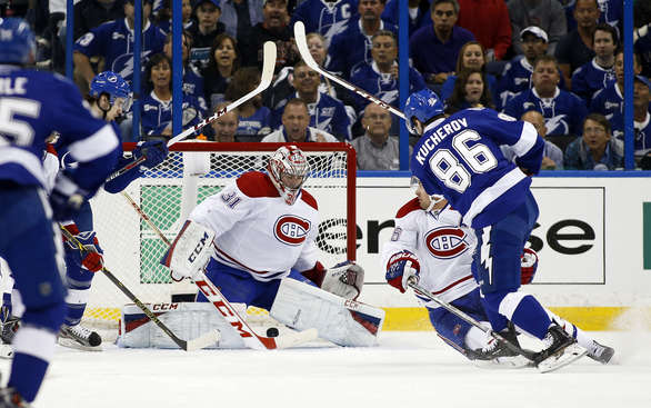 TAMPA, FL - APRIL 16:  Nikita Kucherov #86 of the Tampa Bay Lightning scores past Carey Price #31 of the Montreal Canadiens in Game One of the First Round of the 2014 Stanley Cup Playoffs at the Tampa Bay Times Forum on April 16, 2014 in Tampa, Florida. (Photo by Mike Carlson/Getty Images)