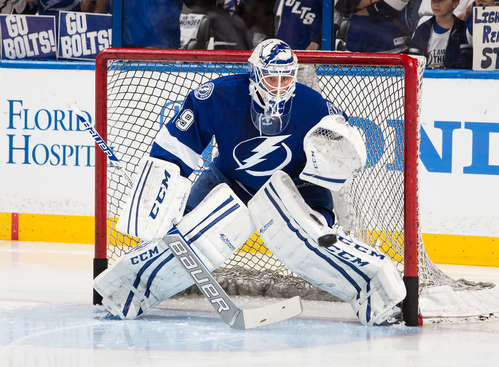 TAMPA, FL - APRIL 18: Goalie Anders Lindback #39 of the Tampa Bay Lightning skates during the pre game warm ups prior to Game Two of the First Round of the 2014 Stanley Cup Playoffs against the Montreal Canadiens at the Tampa Bay Times Forum on April 18, 2014 in Tampa, Florida.  (Photo by Scott Audette/NHLI via Getty Images)