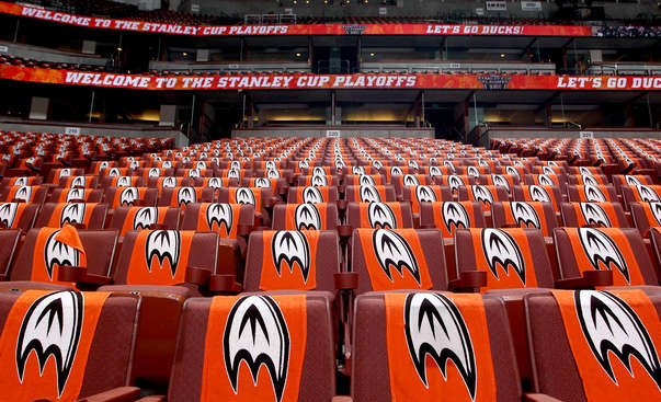 ANAHEIM, CA - APRIL 18:  Seats are set for Game Two of the First Round of the 2014 Stanley Cup Playoffs between the Dallas Stars and Anaheim Ducks at Honda Center on April 18, 2014 in Anaheim, California. (Photo by Debora Robinson/NHLI via Getty Images)
