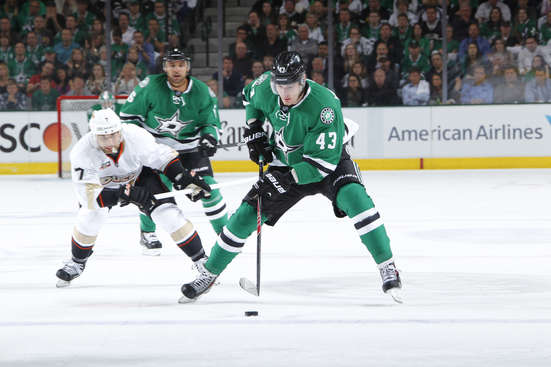 DALLAS, TX - APRIL 21: Valeri Nichushkin #43 of the Dallas Stars handles the puck against Andrew Cogliano #7 of the Anaheim Ducks in Game Three of the First Round of the 2014 Stanley Cup Playoffs at the American Airlines Center on April 21, 2014 in Dallas, Texas. (Photo by Glenn James/NHLI via Getty Images)