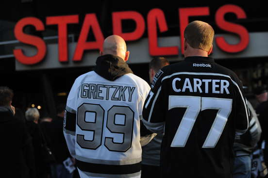 LOS ANGELES, CA - APRIL 24:  Fans wait to enter STAPLES Center before Game Four of the First Round of the 2014 Stanley Cup Playoffs between the San Jose Sharks and Los Angeles Kings on April 24, 2014 in Los Angeles, California. (Photo by Juan Ocampo/NHLI via Getty Images)