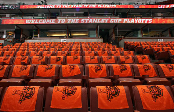ANAHEIM, CA - APRIL 25:  A general view of rally towels before the game between the Dallas Stars and the Anaheim Ducks in Game Five of the First Round of the 2014 Stanley Cup Playoffs at Honda Center on April 25, 2014 in Anaheim, California. (Photo by Debora Robinson/NHLI via Getty Images)