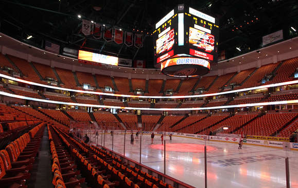 ANAHEIM, CA - APRIL 30:  General view of the Honda Center prior to Game One of the Western Conference Semifinals between the Anaheim Ducks and the Calgary Flames during the 2015 NHL Stanley Cup Playoffs on April 30, 2015 in Anaheim, California. (Photo by Debora Robinson/NHLI via Getty Images)