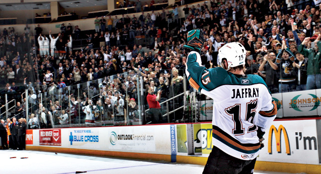 Jason Jaffray with the Manitoba Moose during the 2009 Calder Cup Finals